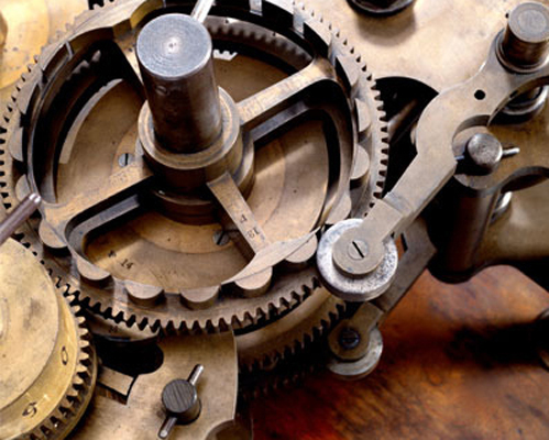Close-up of the gears